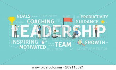 Leadership concept illustration. Idea of team, growth and motivation.