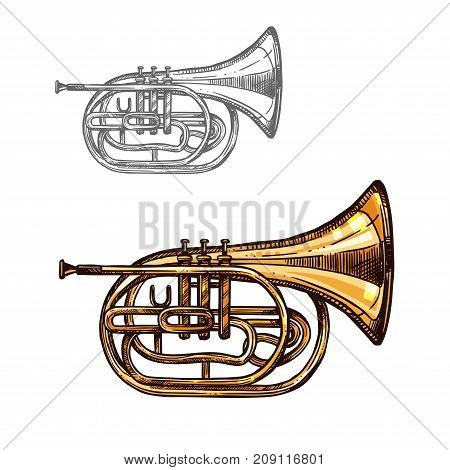 Trumpet music instrument sketch. Horn or cornet of jazz orchestra equipment, wind brass musical instrument isolated vector icon for musical concert or festival of classic music themes design