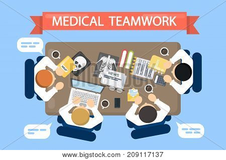 Medical teamwork illustration. Top view of desk with doctors and documents.