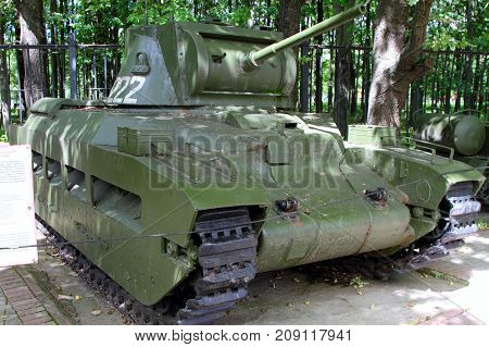 Moscow Russia - July 19 2017: Tank Matilda Infantry (Medium) model 1937 (Great Britain) on grounds of weaponry exhibition in Victory Park at Poklonnaya Hill.