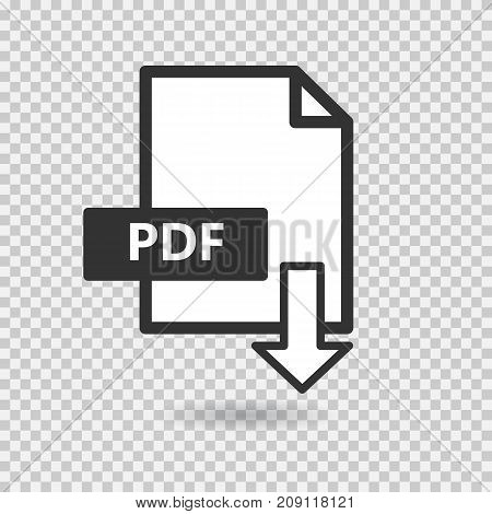 PDF vector icon on transparent background. Download file. Flat illustration for your site.