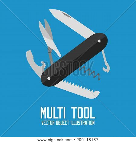 knife multi-tool, multipurpose penknife isolated vector on blue background