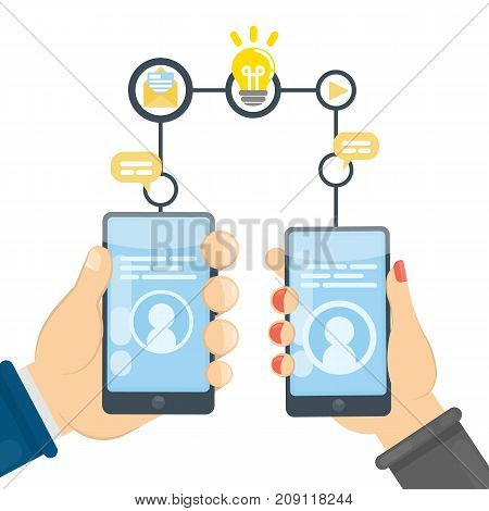 Chatting with smartphone. Man and woman with devices communicate online.