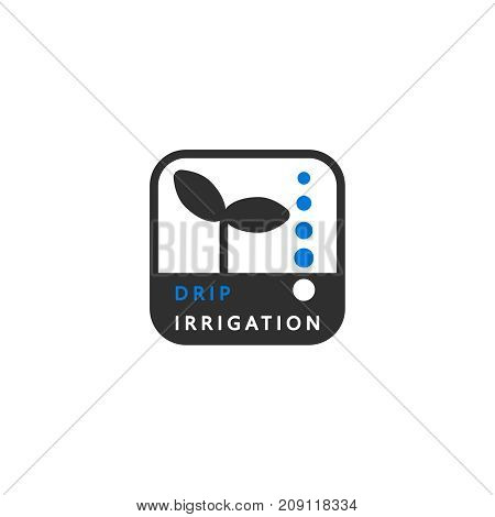 Icon drip irrigation. A simple clean symbol. Vector logo for all types of irrigation.