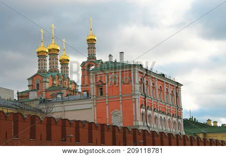 Moscow Kremlin fortress and Kremlin Cathedral inside an autumn time