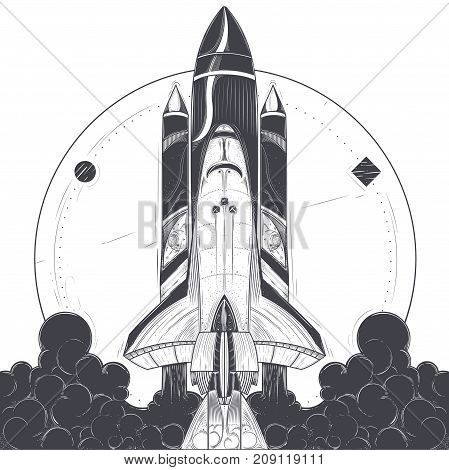 Taake-off with fire and smoke exhaust from engines engraved vector illustration on white background. Modern spacecraft launch, reusable spaceship with carrier rocket start print or tattoo