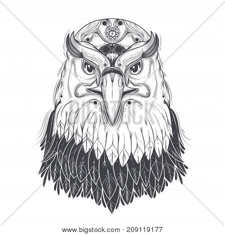Bald eagle head with nine-pointed star and runic lightning bolt symbol on forehead line art drawn vector illustration isolated on white background. Predatory bird with pagan ornament for tattoo, print
