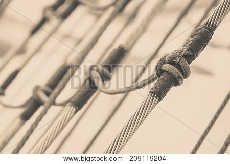 Detailed Closeup Of Mast Rigging On Sail Boat