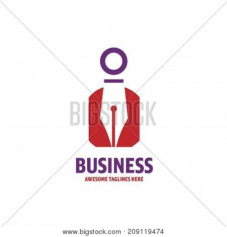 creative pen and gentleman icon for writers publishers and schools, Pen Logo circle shape design vector template, Law Legal Lawyer Copywriter Writer Stationary Logotype concept icon