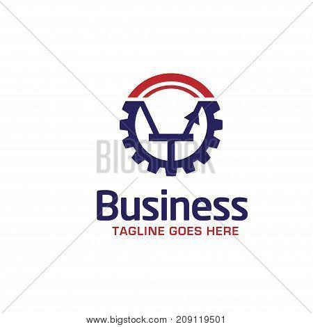 Electricity - vector logo concept illustration, Gear logo, Factory logo, Technology logo, Mechanical logo, Vector logo template