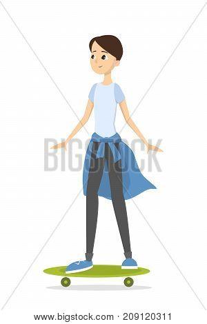 Isolated skateboarding boy. Illustration of boy with longboard.