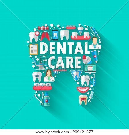 Dental Banner Background Concept With Flat Icons Isolated. Vector Illustration, Dentistry, Orthodontics. Healthy clean teeth. Dental instruments and equipment. Illustration for your projects.