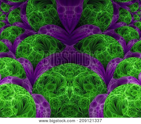 Computer generated fractal artwork with bunch of bubble flowers