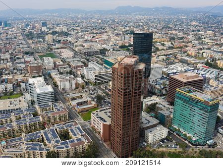 Aerial View of Downtown Los Angeles California with Skyscrapers and Streets