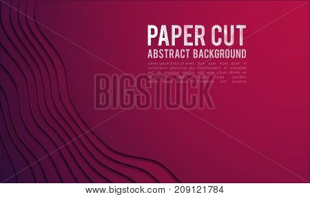 Paper cut banner concept. Paper carve Purple gradient for card poster brochure flyer design in red colors. 3d abstract background