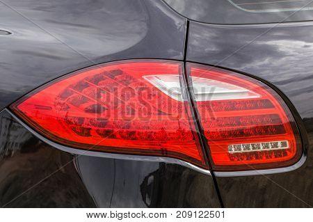 Taillight on a modern prestigious car close up