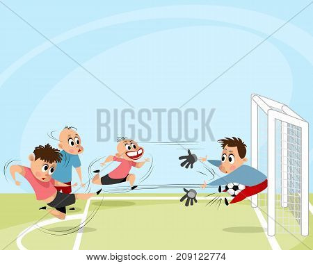 Vector illustration of boys playing football outdoors