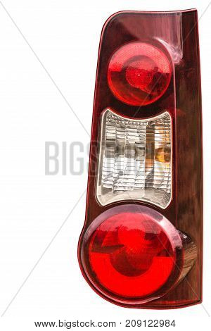 Taillight On A Modern Prestigious Car, Isolated On White Background, With Clipping Path