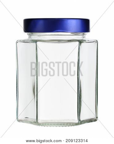 Hexagonal glass jar with metal cap isolated on white background