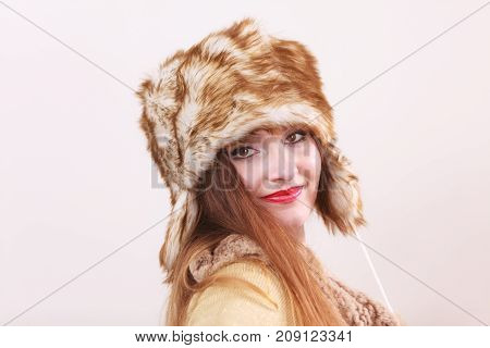 Winter Woman In Warm Clothing Fur Cap