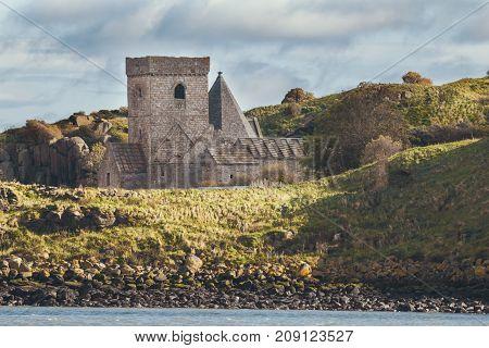 Ruins of an old castle in Scotland - inchcolm island, Edinburgh, horizontal