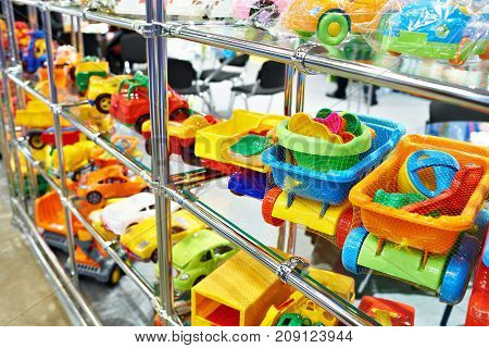 Toy Colored Plastic Cars In Children's Store