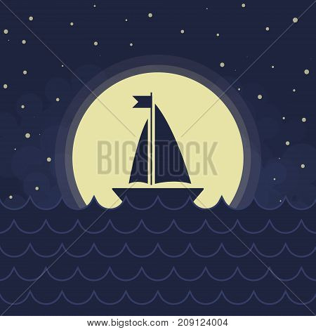 The Sailboat silhouette, full moon, vawes and stars, vector background