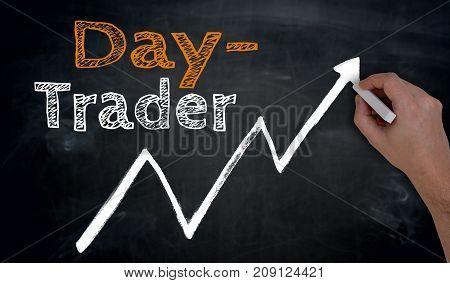 Daytrader Is Written By Hand On Blackboard