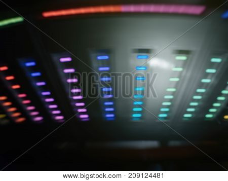 Abstract colorful light pattern on a UFO space ship in rotation movement
