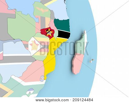 Mozambique With Flag On Globe