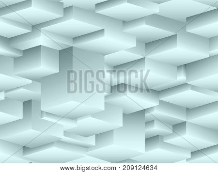 Isometric vector seamless pattern in the style of cubism. Endless turquoise cubic overhanging stalactites