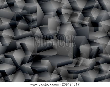 Abstract vector seamless background in the style of art-house cubism in dark colors with a scaly texture