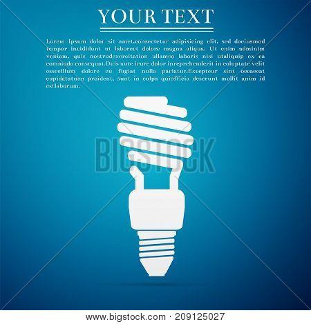 Energy saving light bulb icon isolated on blue background. Flat design. Vector Illustration