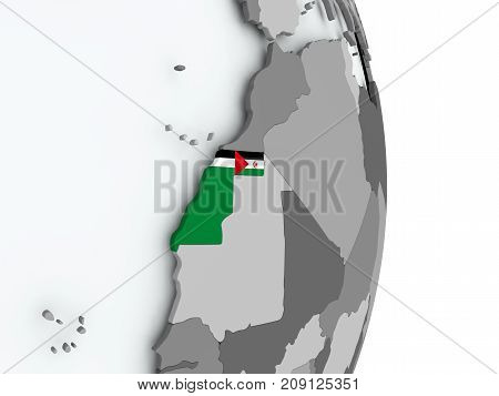 Map Of Western Sahara With Flag