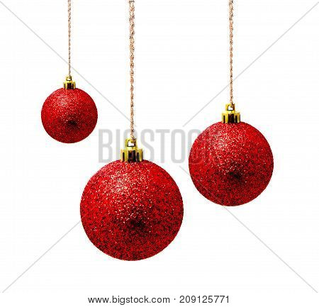 Hunging red christmas balls isolated on a white background