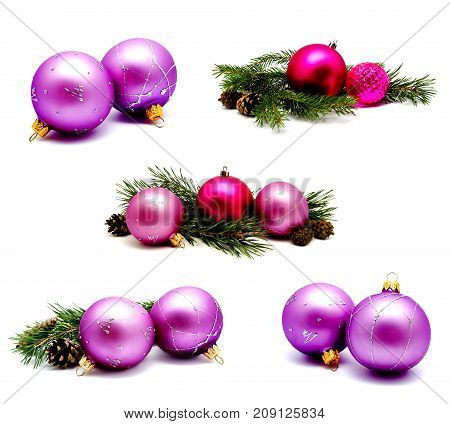 Collection of photos christmas decoration lilac magenta balls with fir cones and fir tree branches isolated on a white background