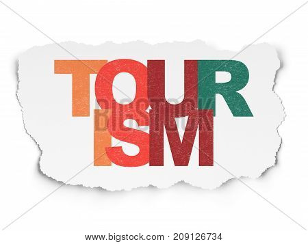 Vacation concept: Painted multicolor text Tourism on Torn Paper background