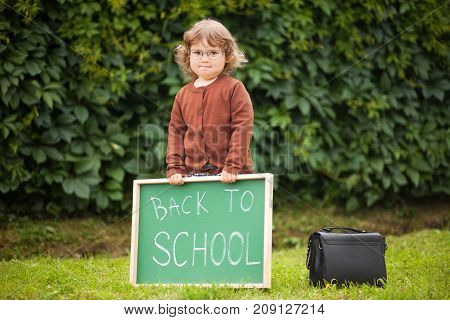 Little Girl Wearing Glasses Ready Back To School