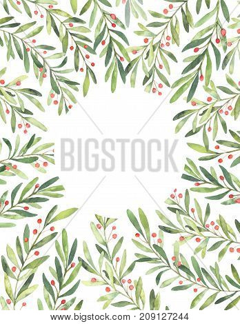 Christmas Illustration. Ready To Use Vertical Card With Watercolor Floral Elements. Perfect For Invi