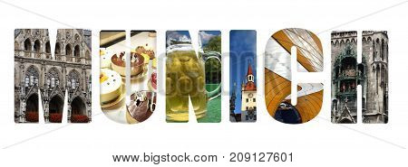 Munich banner collage on white made up of images from around the city