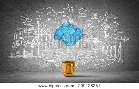 Lightbulb with cloud from gears inside placed against sketched business-analytical information on grey wall. 3D rendering.