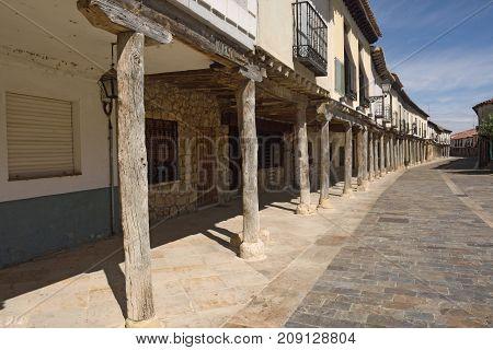 Street With Arcades In Ampudia, Tierra De Campos Region, Palenciia Province, Castilla Y Leon, Spain