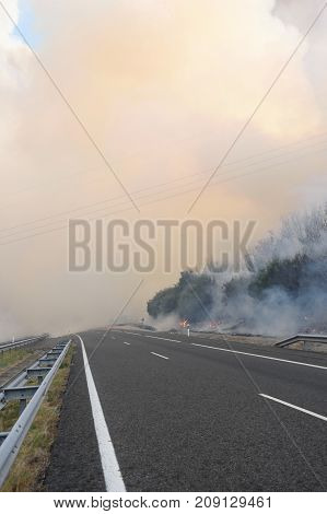 Fire Near The Galician Town Of Verin