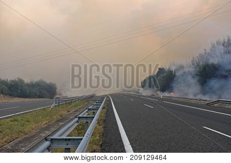 Fire Near The Galician Town Of Verin,spain