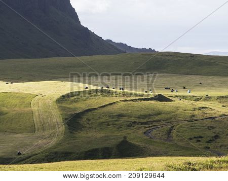 Agricultural Fields Against The Background Of The Mountains Of Vic Village
