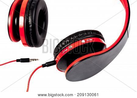 Red Head Phone On White Background