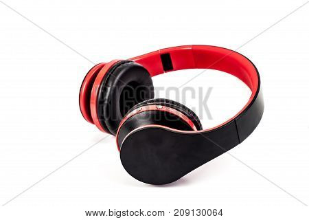 red head phone on white background isolated