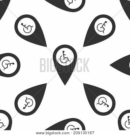 Disabled Handicap icon in map pointer. Invalid symbol icon seamless pattern on white background. Flat design. Vector Illustration
