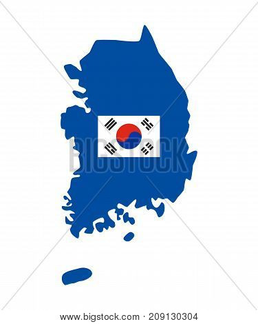 Map of South Korea on the white background. Vector illustration.