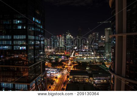A view of the night city of Manila. Philippines.